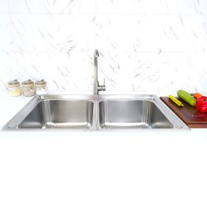 CreaVe's double bowl kitchen sink S-8549C front view