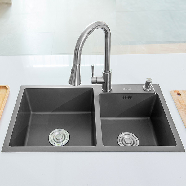 Peachy Grey Double Bowl Nano Stainless Steel Sink Creave Interior Design Ideas Inesswwsoteloinfo
