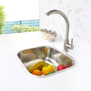 Round Single Bowl Kitchen Sink S-4537 side view