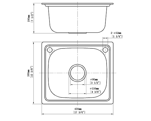 Creave stainless steel sink S-4539A size