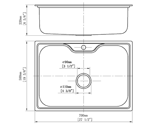durable sink S-7050 size
