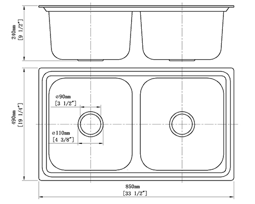 CreaVe's double bowl kitchen sink S-8549C size