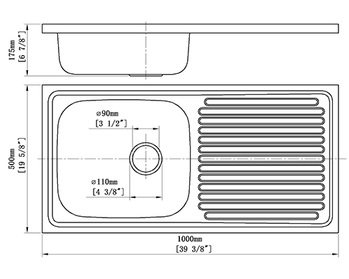 creave single tray stainless steel sink S-10050SF size