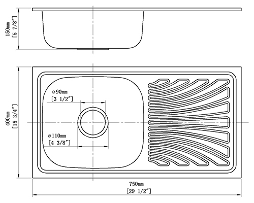 Topmount Kitchen Sink With Tray S-7540SA size