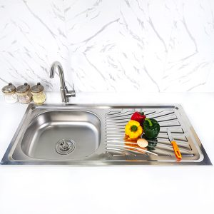 single bowl under mount kitchen sink S-9643SA front view